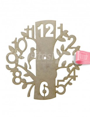- Ahşap Ağaç Saat - 30 x 30 cm - KS5T