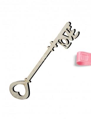 - Ahşap Anahtar Figürü - Love Yazılı - 13 cm - KO61T