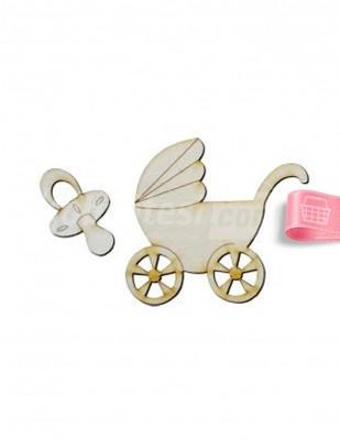 - Ahşap Bebek Arabası - 8 x 10 cm - KO97T