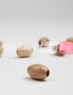 - Ahşap Boncuk - Elips - Sütlü Kahve - Çap 2,3 cm