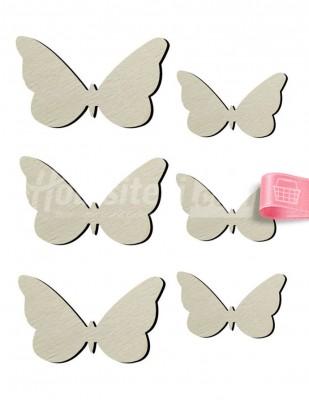 - Ahşap Mini Kelebekler Figürleri - 1 cm - KO73T