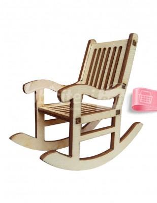 - Ahşap Sallanan Sandalye - 4 x 7 cm - KMY4T