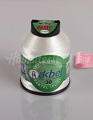 AKBEL - Akbel Dantel İpliği - No:30 - 100 gr - Kar Beyaz