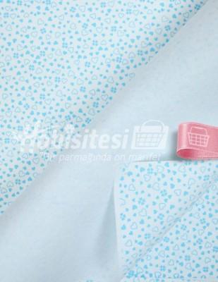 - Baskılı Keçe - Kalpli Beyaz/Mavi - 1mm - 41 x 41 cm