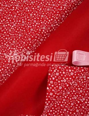 - Baskılı Keçe - Kalpli Kırmızı/Beyaz - 1mm - 41 x 41 cm