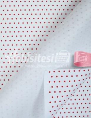 - Baskılı Keçe - Puantiyeli Beyaz/Kırmızı - 1mm - 41 x 41 cm