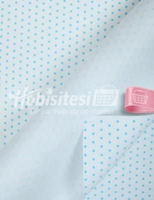 - Baskılı Keçe - Puantiyeli Beyaz/Mavi - 1mm - 41 x 41 cm