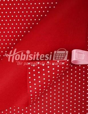 - Baskılı Keçe - Puantiyeli Kırmızı/Beyaz - 1mm - 41 x 41 cm