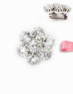 - Broş - Taşlı - Gümüş - 2,5 cm
