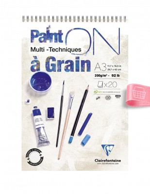 CLAIREFONTAINE - Clairefontaine Paint On A3 - 29.7 x 42 cm - 200 g/m²