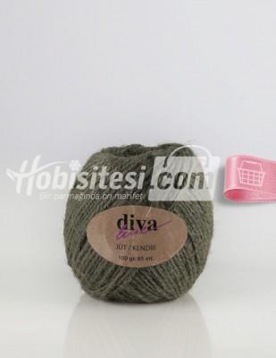- Diva Line Jüt İp - Yağ Yeşili - 100 Gr - 85 m