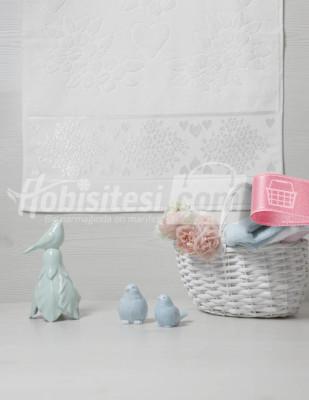 GLAMOUR - Glamour Jakarlı Havlu - Beyaz - 50 x 90 cm