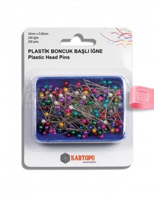 KARTOPU - Kartopu Toplu İğne - Plastik Boncuk Başlı - 0,65 x 34 mm - 200 Adet / Kutu