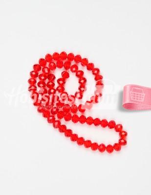 - Kristal Cam Boncuk - Kırmızı - Çap 8 mm - 72 Adet