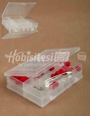 - Plastik Saklama Kabı - Çift Taraflı - 9 x 12 x 3 cm