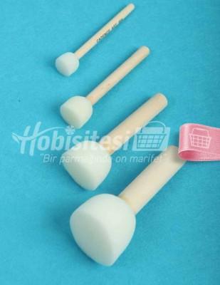 - Tampon / Ponpon Fırça Seti - 1 - 2 - 3 - 4 cm Çaplarında - 4 Adet