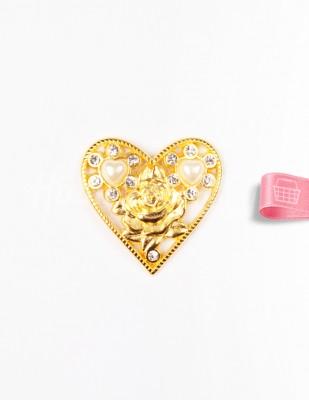- Taşlı Kalp Toka - Altın - Çap 4 cm