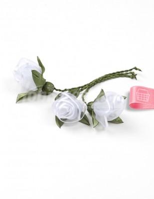 - Tespih Ucu Çiçek - Organze - Beyaz - 2,5 cm