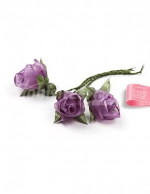 - Tespih Ucu Çiçek - Organze - Eflatun - 2,5 cm