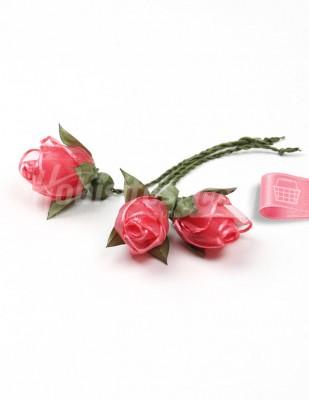 - Tespih Ucu Çiçek - Organze - Koyu Pembe - 2,5 cm