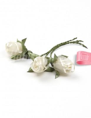 - Tespih Ucu Çiçek - Organze - Krem - 2,5 cm