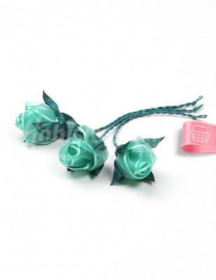 - Tespih Ucu Çiçek - Organze - Yeşil - 2,5 cm