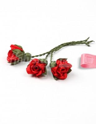 - Tespih Ucu Çiçek - Saten - Kırmızı - 2,5 cm