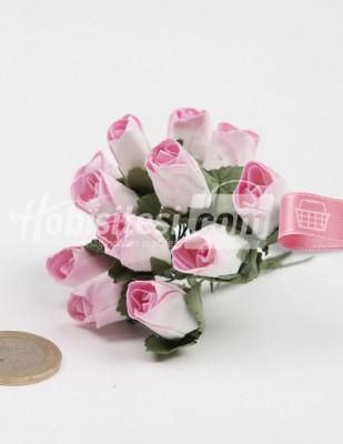 - Yapay Çiçek - Açık Pembe - Çap 2 cm / Dal ile Uzunluk 10 - 6 Dal / Demet