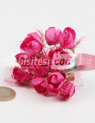 - Yapay Çiçek - Fuşya - Çap 2 cm / Dal ile Uzunluk 10 cm - 12 Dal / Demet