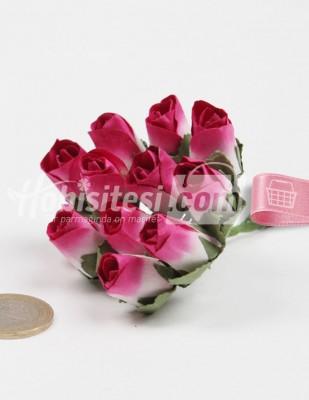 - Yapay Çiçek - Fuşya - Çap 2 cm / Dal ile Uzunluk 10 - 6 Dal / Demet