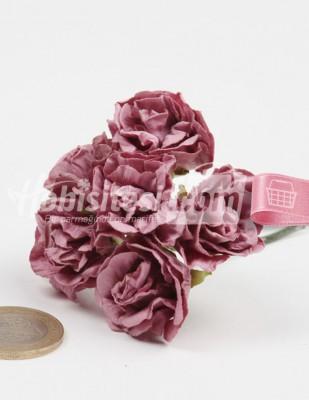 - Yapay Çiçek - Gül Kurusu - Çap 2,5 cm / Dal ile Uzunluk 10 - 6 Dal / Demet