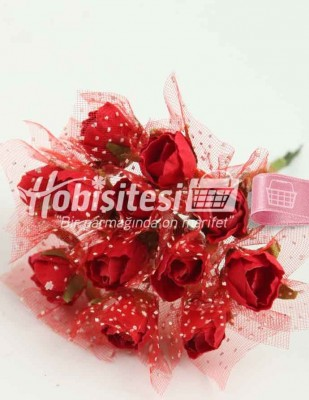 - Yapay Çiçek - Kırmızı - Çap 2 cm / Uzunluk 10 cm - 12 Dal / Demet