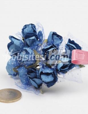 - Yapay Çiçek - Mavi - Çap 2 cm / Dal ile Uzunluk 10 cm - 12 Dal / Demet