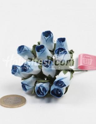 - Yapay Çiçek - Mavi - Çap 2 cm / Dal ile Uzunluk 10 - 6 Dal / Demet