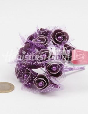 - Yapay Çiçek - Mor - Çap 2 cm / Dal ile Uzunluk 10 cm - 12 Dal / Demet