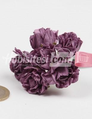 - Yapay Çiçek - Mor - Çap 2,5 cm / Dal ile Uzunluk 10 - 6 Dal / Demet