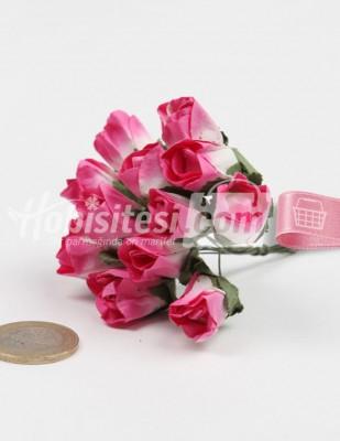 - Yapay Çiçek - Pembe - Çap 2 cm / Dal ile Uzunluk 10 - 6 Dal / Demet