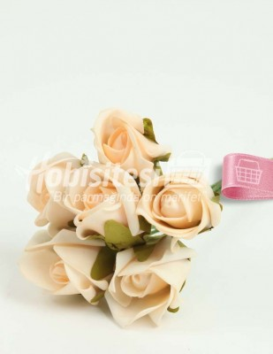 - Yapay Çiçek - Somon - Çap 4 cm - 6 Adet / Demet