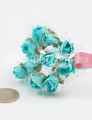 - Yapay Çiçek - Turkuaz - Çap 2 cm / Dal ile Uzunluk - 12 Dal / Demet