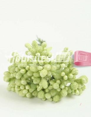 - Yapay Çiçek - Yeşil - Çap 2 cm / Uzunluk 12 cm - 12 Dal / Demet