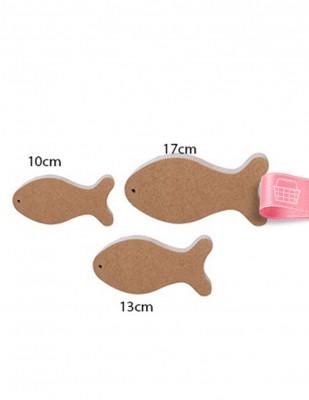 - Ahşap Balık Figürü - 3lü Set - Kalınlık 18 mm - KF29T