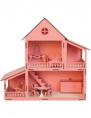 - Ahşap Barbie Ev, Pembe 2 Katlı Oyuncak Ev - KEV11T (1)