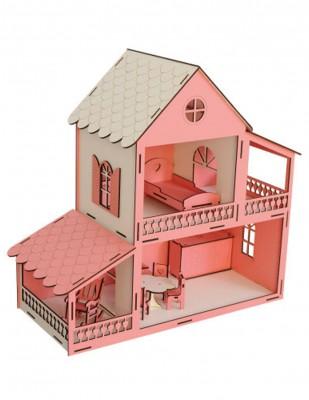 - Ahşap Barbie Ev, Pembe 2 Katlı Oyuncak Ev - KEV11T