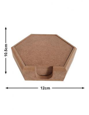 Ahşap Bardak Altlığı, Altıgen - Kutu ve 6 Adet Altlık - KB5T