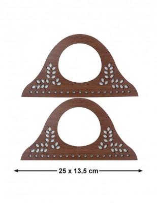- Ahşap Çanta Sapları, Çanta Kulpları - 25 x 13,5 cm - KTU12T