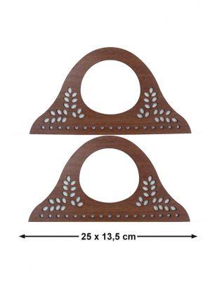 Ahşap Çanta Sapları, Çanta Kulpları - 25 x 13,5 cm - KTU12T