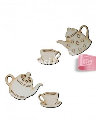 - Ahşap Çay Seti - 2 ve 4 cm - KO84T