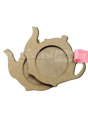 - Ahşap Çay Tabağı, Bardak Altlığı - Demlik Figürlü Ahşap Tabak - KB2T