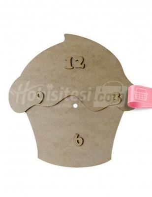 - Ahşap Cupcake Saat - 32 x 32 cm - KS6T