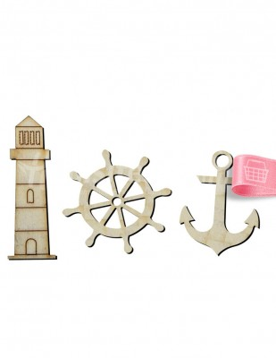 - Ahşap Denizcilik Figürü - 3 Adet / Paket - KO58T